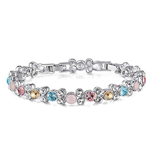 Tennis Armband Bunten Kristalle Armband Frauen Mit Eingelegten Embellished with Crystals Für Valentinstag Muttertag Geburtstag Geschenk,Silber