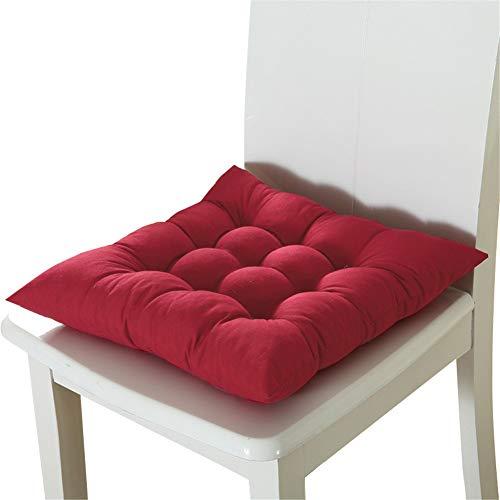 HotYou Sanft Basic Sitzkissen, Stuhlkissen mit Bändern - für Innen- und Außenbereich geeignet, Sitzpolster Auflage für Haus und Garten,Weinrot,40 * 40CM