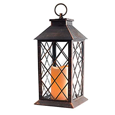 """Evermore Light 14"""" Copper Brushed Vintage Style Candle Lantern with 4 Hours Timer (Batteries Included) Hanging Lantern for Indoor&Outdoor Flameless Candles Decorative-Candles-Lanterns (Set of 2)..."""