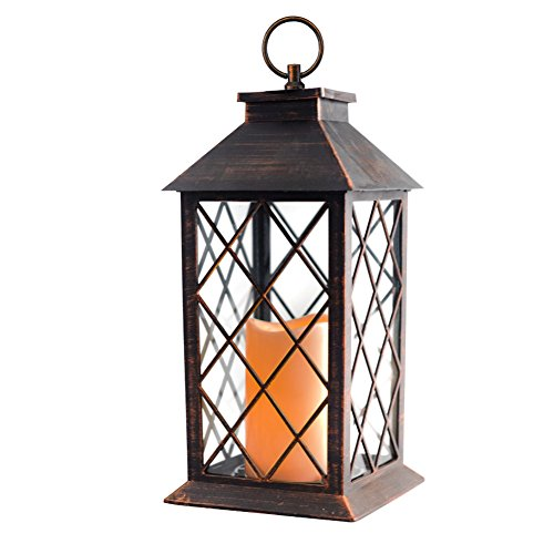 14'' Copper Brushed Vintage Candle Lantern with Flickering Flameless Led Plastic Lantern Metallic...