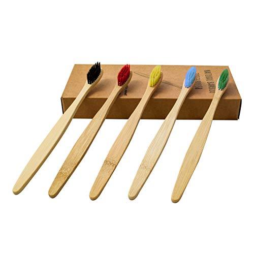Bambus Zahnbürsten mittel 10 Stück bunt Holzzahnbürsten Bamboo Toothbrush Bambus Zahnbürste Nachhaltig