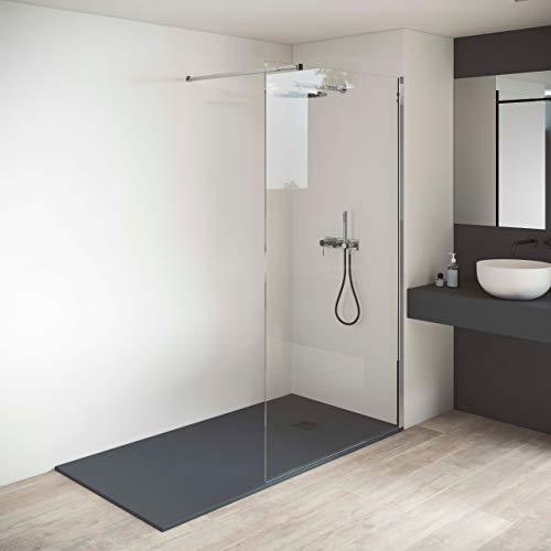 Mampara de ducha fija - Panel fijo - ANTICAL INCLUIDO - Grosor Vidrio Transparente Templado 8mm - Altura 200 cm - Perfil Aluminio Cromo (Medida 70 CMS)