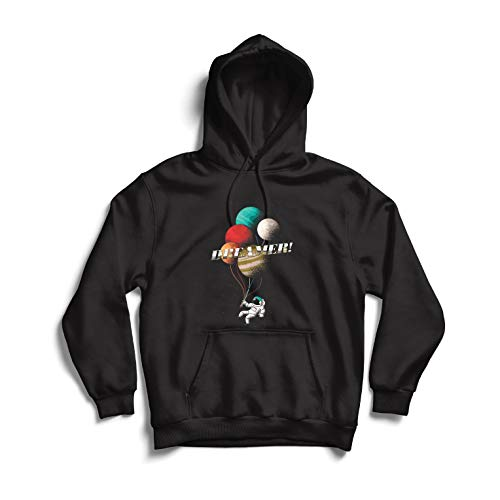lepni.me Sweatshirt à Capuche Manches Longues Le rêveur, astronautes dans l'espace - Planètes Arc-en-Ciel cosmiques (XX-Large Noir Multicolore)
