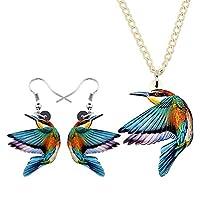 女性の女の子の装飾のためのジュエリーセットかわいいアクリル声明ハミングバード鳥ネックレスイヤリングチョーカーファッションジュエリー DCCRBR (Color : Blue)