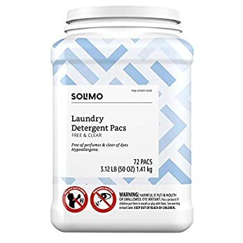 Amazon Brand - Solimo Laundry Detergent Pacs Free & Clear Hypoallergenic Free of Perfumes Clear of Dyes 72 Count