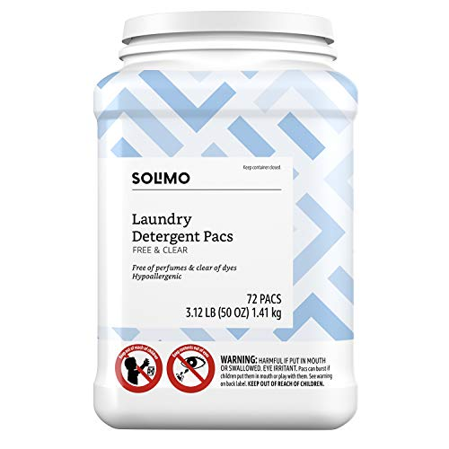 Amazon Brand - Solimo Laundry Detergent Pacs, Free & Clear, Hypoallergenic, Free of Perfumes Clear of Dyes, 72 Count