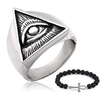Gungneer Stainless Steel Illuminati The All-Seeing-Eye Pyramid Ring Eye of Providence Protection Symbol Biker Jewelry