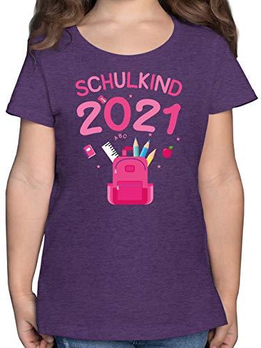 Einschulung und Schulanfang Geschenk - Schulkind 2021 rosa Schultasche - 128 (7/8 Jahre) - Lila Meliert - mädchen Einschulung t Shirt - F131K - Mädchen Kinder T-Shirt