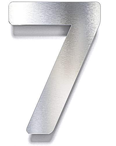Edelstahl Hausnummer 7 – wetterfest & rostfrei – inkl. Montagematerial – Hausnummernschild – N.07.E
