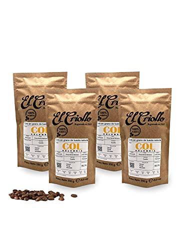 Café de Colombia EN GRANO - El Criollo© | Finca Santa Bárbara | Café de Especialidad 100% Arábica y de Tueste natural | Pack de 4x250gr (1kg)