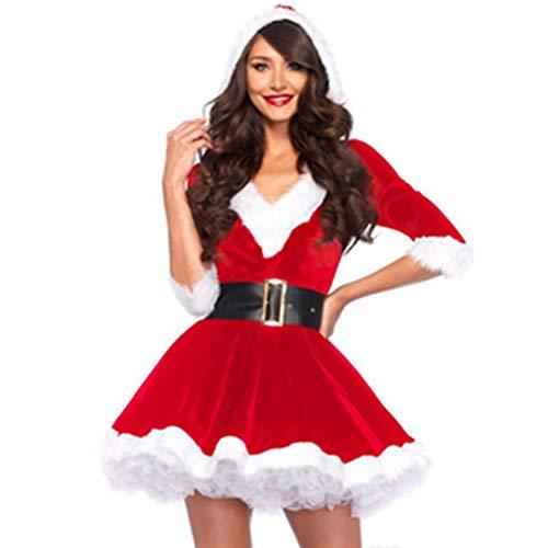 CHRONSTYLE Weihnachten weihnachtsmann Cosplay kostüm Frauen v-Ausschnitt Dress mit gürtel Damen Rollenspiel Outfits Fräulein Claus Kleid Party Cosplay Santa Outfit (rot, M)