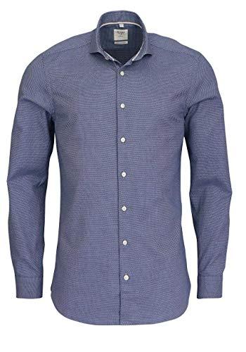 Olymp Level Five Smart Business Body fit Hemd Langarm Muster blau Größe 41