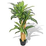 vidaXL Planta de Drácena Artificial con Maceta 100 cm Verde Maceta de Plástico