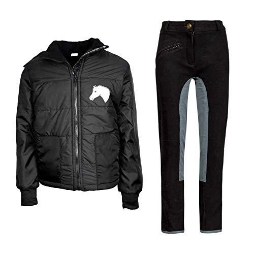 MS-Trachten Kinder Reitset Reithose schwarz grau mit Reitjacke Mia schwarz gesteppt Fleecefutter (134/140)