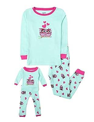 Leveret Kids & Toddler Pajamas Matching Doll & Girls Pajamas 100% Cotton Set (Toddler-14 Years) Fits American Girl (8 Years, Owl)