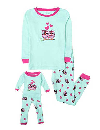 Leveret Kids & Toddler Pajamas Matching Doll & Girls Pajamas 100% Cotton Pjs Set (Owl,8 Years)