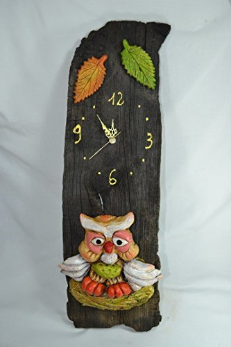 Reloj de madera pared búho-hojas