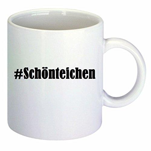 Koffiemok #Schönteichen, Hashtag ruiten, keramiek, hoogte 9,5 cm 8 cm in wit