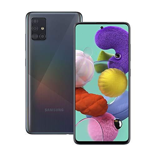 Samsung Galaxy A51 Smartphone, Display 6.5  Super AMOLED, 4 Fotocamere Posteriori, 128 GB Espandibili, RAM 4 GB, Batteria 4000 mAh, 4G, Dual Sim, Android 10, Nero
