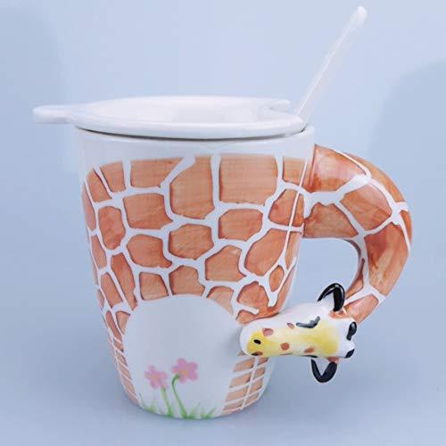 Hand Painted Giraffe Mug with 3D handle