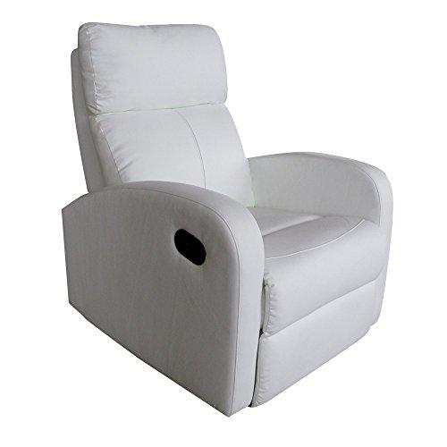 duehome Sillon Relax reclinable, Color Blanco Due-Home, Piel_sintética, 73 x 86 x 102 cm