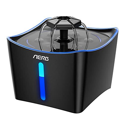 Aerb Trinkbrunnen für Katze: 3L Katzenbrunnen SUPER LEISER Automatisch für Hunde Katze Wasserspender mit Nachtlicht/Shalter/Aktivkohlefilter