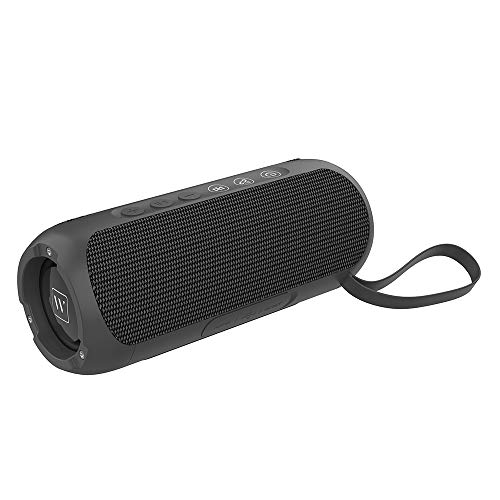 Wharfedale Waterproof Portable Bluetooth Speaker, 20W Stereo Sound, Long Playtime, Built-in Mic, Wireless TWS Speaker for Outdoor, Swimming (Blue) (Black)