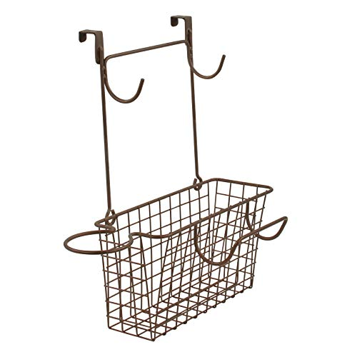 Spectrum Diversified Grid Wide Hair Station Basket Over The Cabinet Door Steel Wire Bathroom Organizer, Includes Hooks for Styling Tools & Loop for Blow Dryer, Bronze