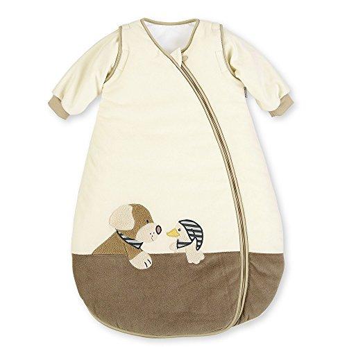 Sterntaler Schlafsack für Kleinkinder, Abnehmbare Ärmel, Wärmeregulierung, Reißverschluss, Größe: 70, Hanno, Crème/Braun