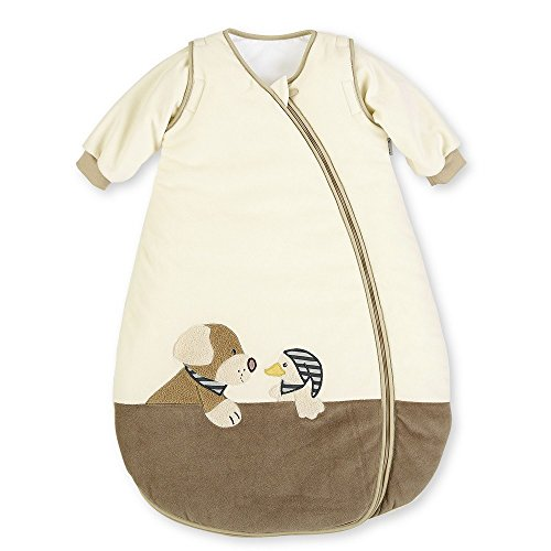 Sterntaler Schlafsack für Kleinkinder, Abnehmbare Ärmel, Wärmeregulierung, Reißverschluss, Größe: 90, Hanno, Crème/Braun