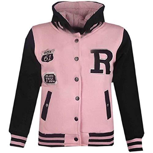 A2Z 4 Kids® Jungen Mädchen Mode Fox NYC Baseball Mit Kapuze Jacke - B.B Fox Baby Pink & Black 11-12