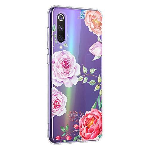 Suhctup Schutzhülle kompatibel mit Xiaomi Redmi Note 8T, transparent, aus TPU-Silikon, mit Blumenmuster, weich, stoßfest, ultradünn