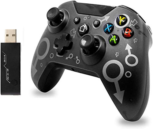 Poulep Wireless Controller for Xbox One, Xbox One Controller with Dual Vibration Function, Compatible with Xbox One/One S/One X / P3 Console/Windows 7/8/10 of 2.4GHZ Wireless Adapter (Black)