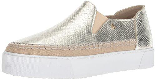 AX Armani Exchange Damen Snakeskin Textured Slip On Platform Sneaker Turnschuh, champagnerfarben/goldfarben, 40.5 EU