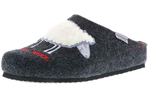 TOFEE Damen Hausschuhe Slipper Pantoffeln Pantoletten Naturwollfilz (Cool Wool) anthrazit, Größe:40, Farbe:Anthrazit