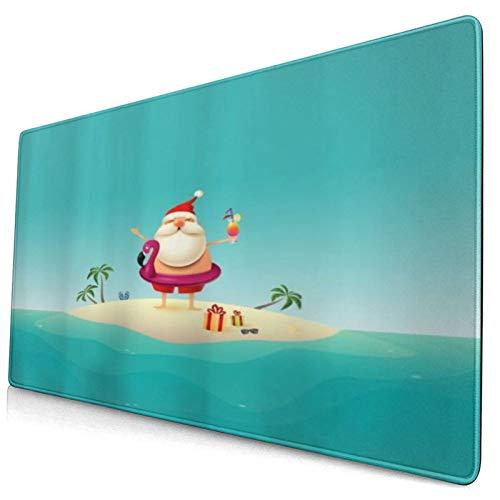 LASINSU Alfombrilla Gaming,Vacaciones de Papá Noel en la Isla de Arena en el océano Flotador Inflable de flamencos Feliz Navidad,con Base de Goma Antideslizante,750×400×3mm