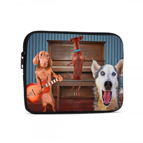 Estuche de Transporte Un trío de Perros Cantando Frente a un Piano Good Fo Bolsa para computadora portátil para Hombres Compatible con iPad 7.9/9.7 Pulgadas Bolsa Protectora de Neopreno a