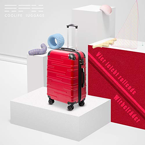 COOLIFE COOLIFE Hartschalen-Koffer Rollkoffer Reisekoffer Vergrößerbares Gepäck (Nur Großer Koffer Erweiterbar) ABS Material mit TSA-Schloss und 4 Rollen(Rot, Koffer-Set)