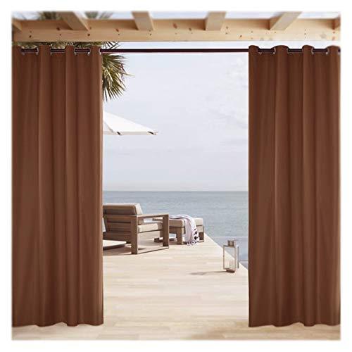 Cortinas opacas para exteriores con protección UV con ojales, resistentes al agua, para porche, pérgola, cabana, terraza, gazebo, dock y casa de playa, marrón, 2 unidades de 137 x 275 cm