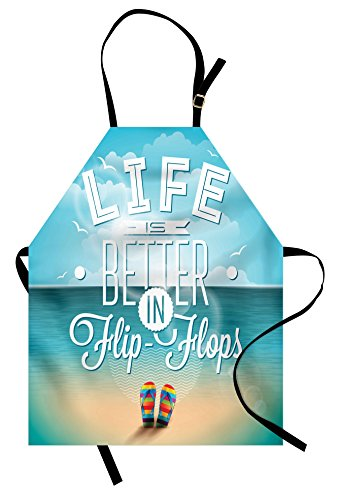 Lunarable Saying Apron, Life is Better in Flip-Flops Inspirational Phrase on a Seascape Hot Summer Print, Unisex Kitchen Bib with Adjustable Neck for Cooking Gardening, Adult Size, White Blue