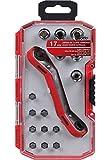 iWork L-76-500 - Juego de 17 llaves acodadas (16.8 x 9.2 x 3.4 cm) con mango carraca color rojo