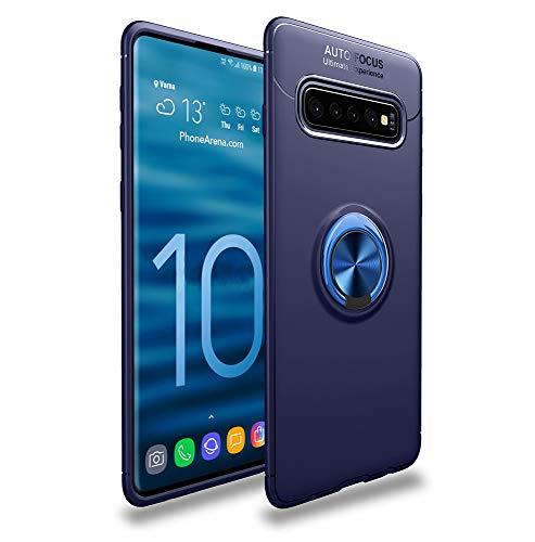 LAGUI Funda Adecuado para Samsung Galaxy S10+, Soporte de Montaje Magnético del Coche Carcasa Especial, con Anilla Posterior, Azul+Azul