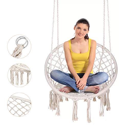 Hangstoel Boheemse Macrame Swing Hangstoel - Laad 260lbs - Katoenen touw Mesh Indoor/Outdoor Woonkamer Hangmat Swing voor thuis, slaapkamer, tuin, terras,A