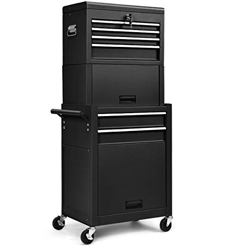 Safstar 6-Drawer Rolling Tool Chest, High Capacity Tool Storage Cabinet with Wheels and Locking System, Removable Toolbox Organizer with Sliding Drawers (Black)