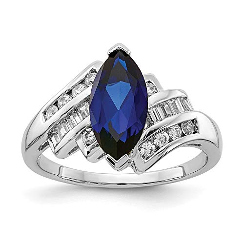 925 Sterling Silver Created Blue Sapphire Cubic Zirconia Cz Marquise Band Ring Size 7.00 Birthstone September Gemstone Fine Jewelry For Women Gifts For Her
