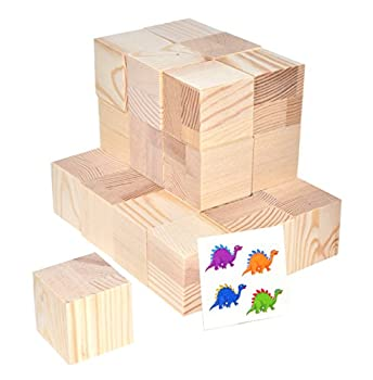 Mandala Crafts Wooden Block Wood Cube Set for Toddlers Kids Puzzles Baby Showers DIY Crafting Projects 1.5 Inches 25 PCs