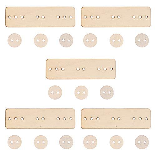 Healifty 5 Sets Trä Kläder Snöring Leksaker Tidigare Montessori Leksak Fin Motor Skicklighet Träning Spelet Sy Knäppning Kort Spel
