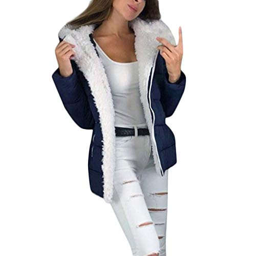 Xmiral Mäntel Parka Damen Winter Warm Fleece Plüsch Steppjacke Übergröße Jacke Vintage Oversize Outwear Daunenjacke Verdicken Reißverschluss-Mantel(Blau,4XL)