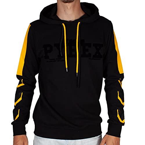 Pyrex Felpa Uomo Nero con Cappuccio Bande Laterali Bicolor e Stampa con Logo S