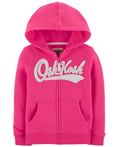 OshKosh B'Gosh Girls' Kids Full Zip Logo Hoodie, Pink Noveau, 6-6X